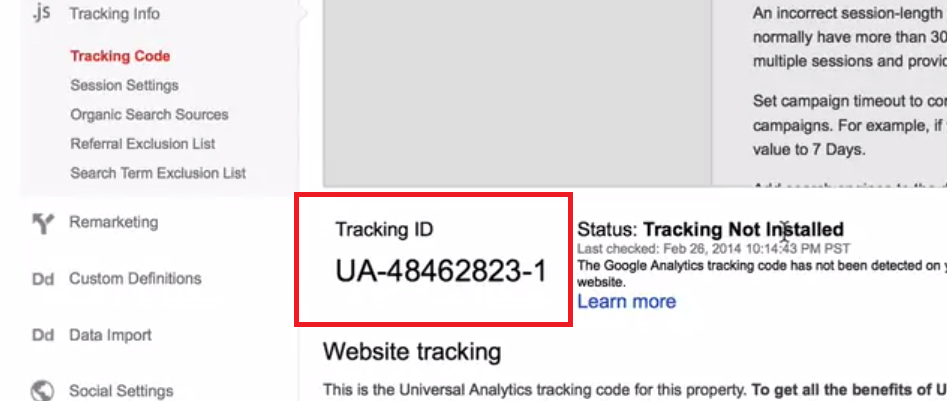 Copy your tracking ID.