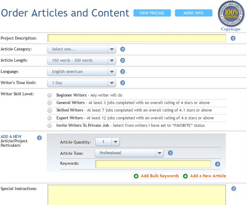 Hirewriters com Review        Reviews Boss Scripted hirewriters review   dashboard hirewriters view