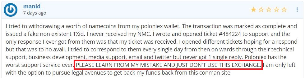 Poloniex withdrawal problems
