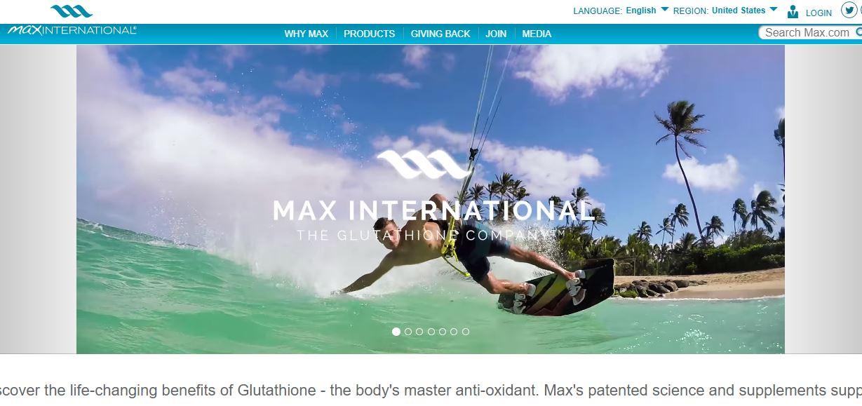 Max International homepage