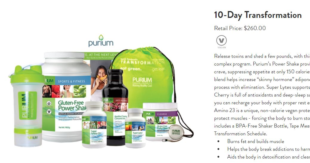 Purium 10-Day Transformation Product