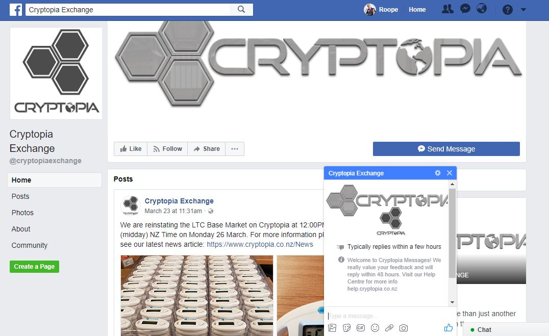 cryptopia support - facebook