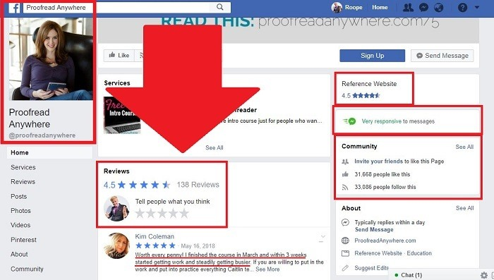proofreading anywhere facebook page