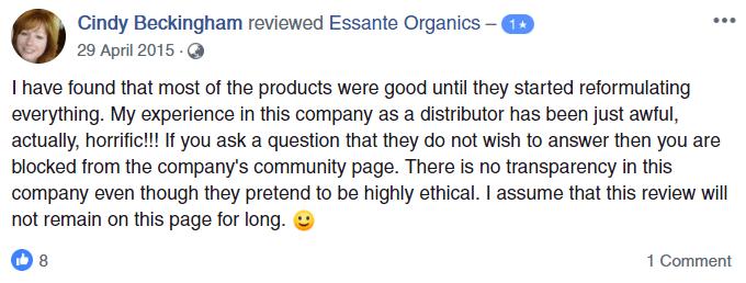 Essante Organics Scam Negative Review