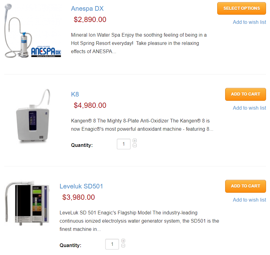 Kangen Water Scam - Enagic Review Products Screenshot - Your Online Revenue
