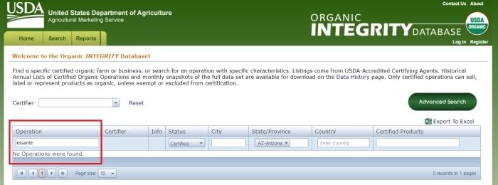 Optimized-Essante Organics Scam USDA Results