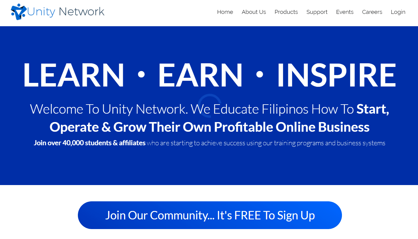 Is Unity Network A Scam Landing Page