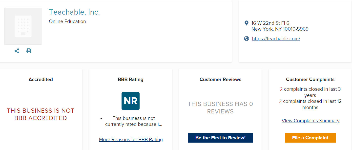 Teachable Reviews BBB - Your Online Revenue