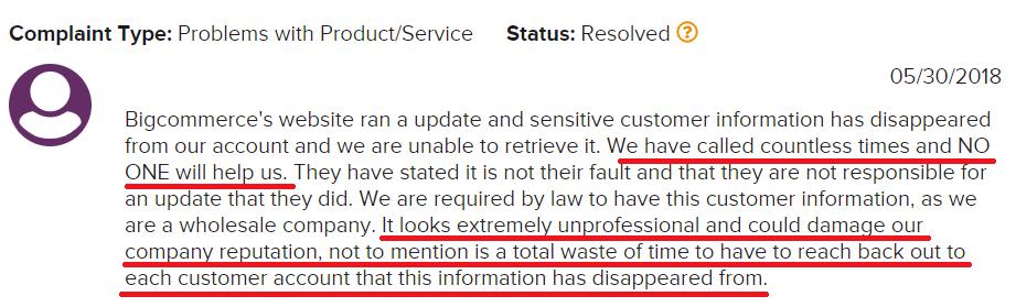 BigCommerce Reviews Complaint 1