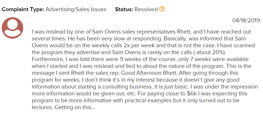 Is Sam Ovens Consulting A Scam BBB Complaint 1