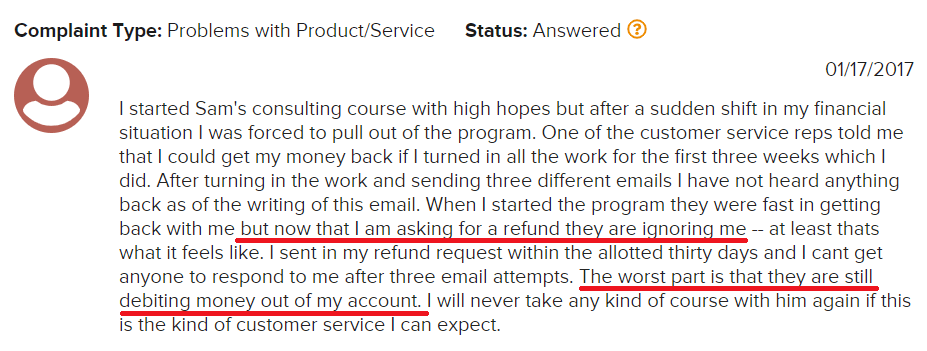 Is Sam Ovens Consulting A Scam BBB Complaint 2