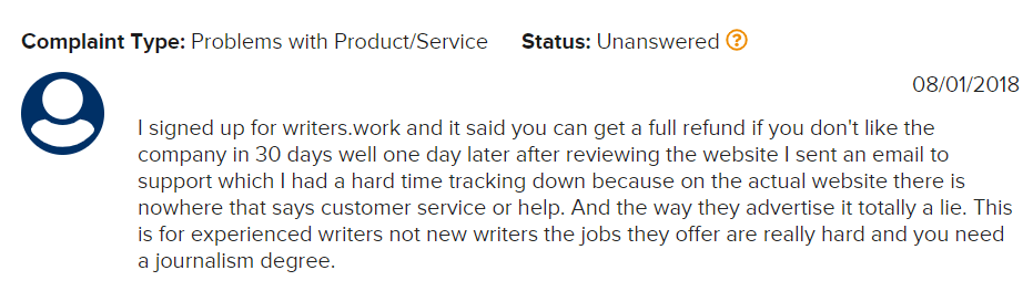 Writers.Work Review Complaint