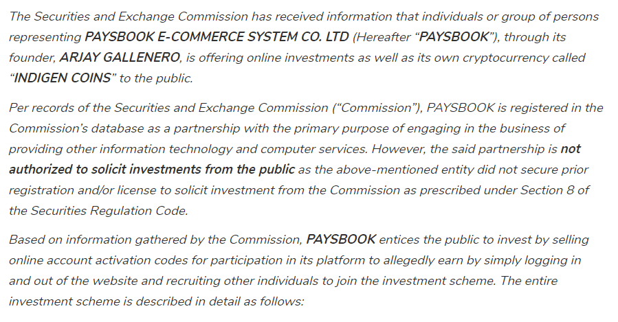 Paysbook Review SEC