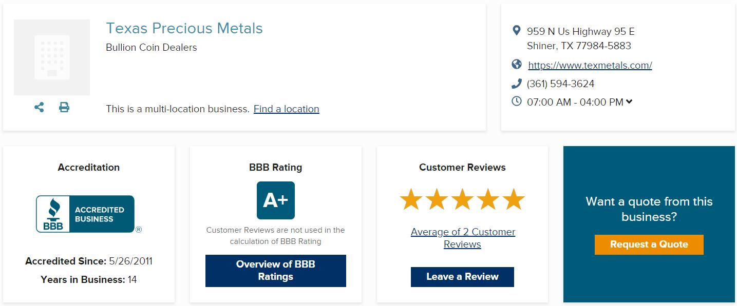Texas Precious Metals Reviews BBB