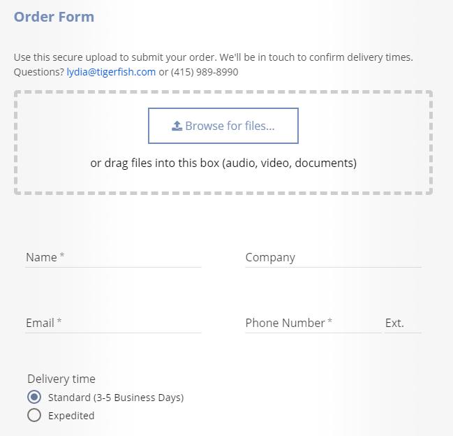 Tigerfish Transcription Reviews Order Form
