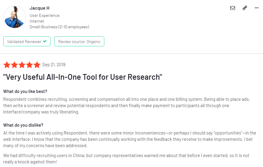 This is among the dozens positive reviews on the forum regarding Respondent.io.