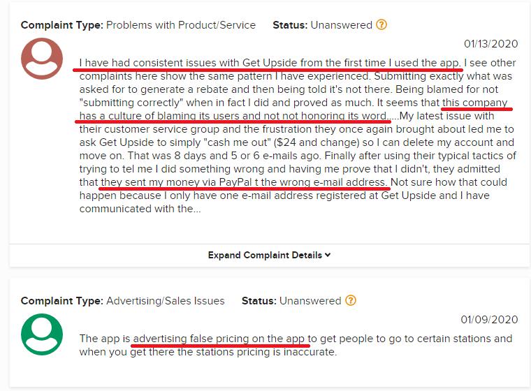 GetUpside Reviews BBB Complaints