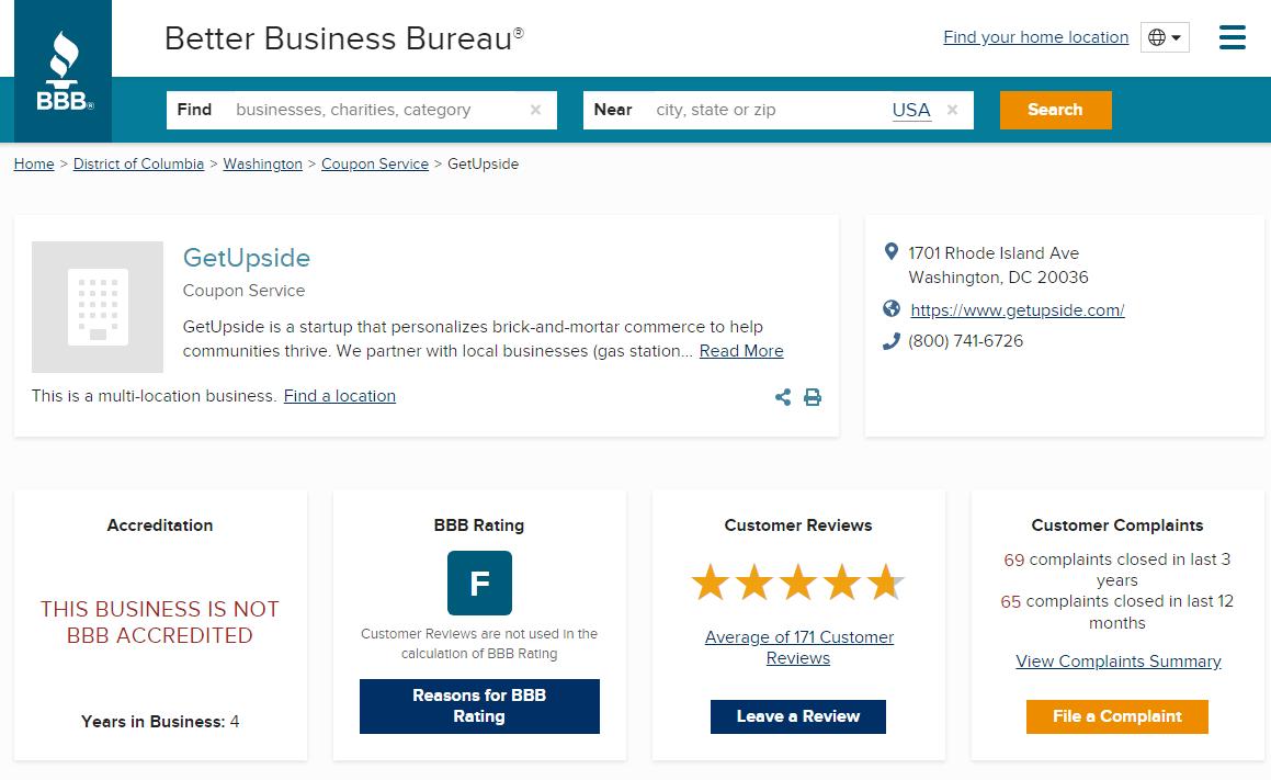 GetUpside Reviews BBB