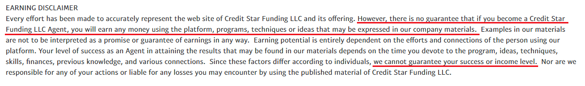 Is Credit Star Funding A Scam Disclaimer