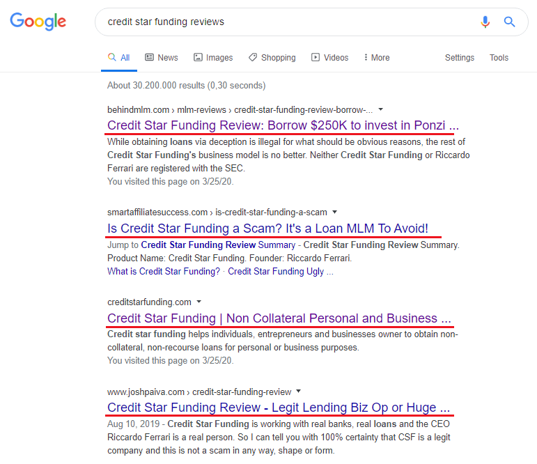Is Credit Star Funding A Scam SERP