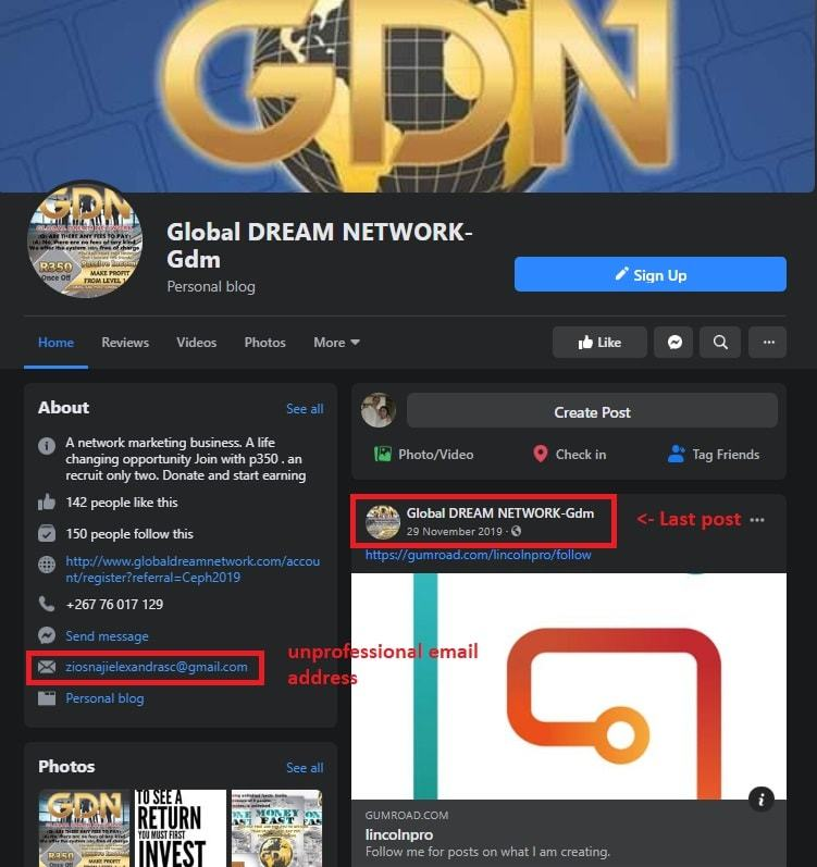 IS Global Dream Network A Scam Facebook Page