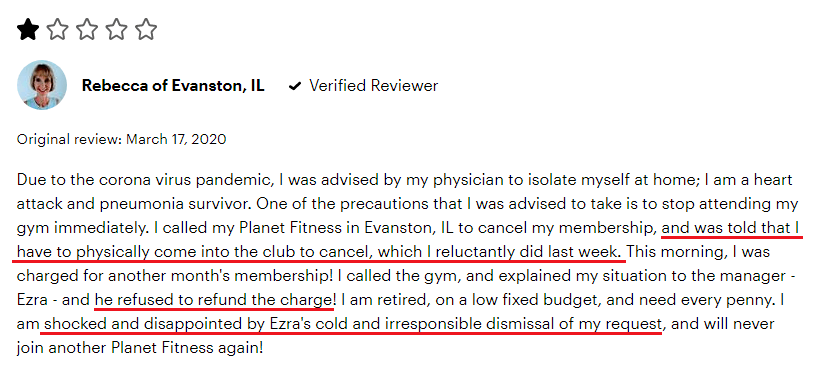 Planet Fitness Reviews Negative 1