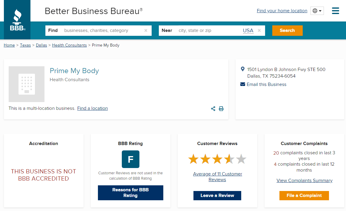 PrimeMyBody Scam Review BBB