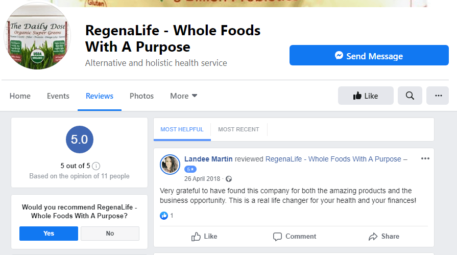 RegenaLife Review Facebook Page