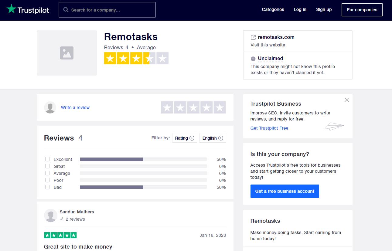 Remotasks Review Trustpilot