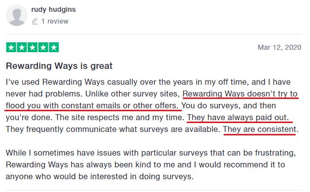 What is Rewarding Ways Positive Review Trustpilot